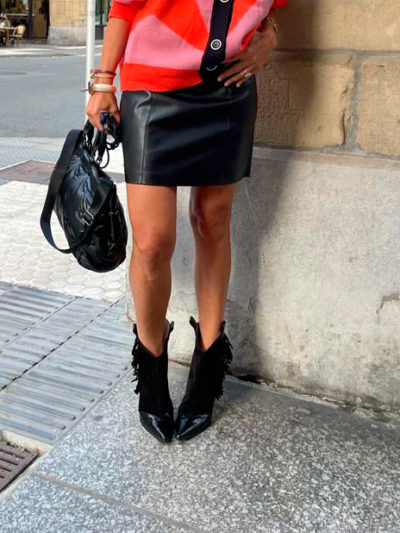 Falda de polipiel negra