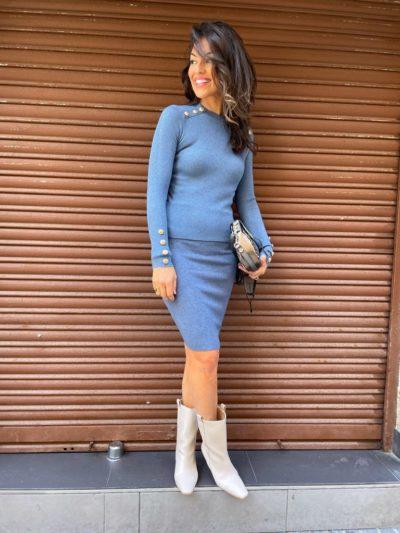 Falda azul de punto canalé