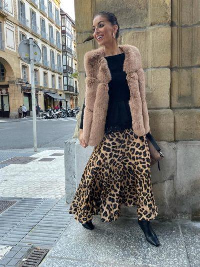 Falda de caída seda estampado leopardo