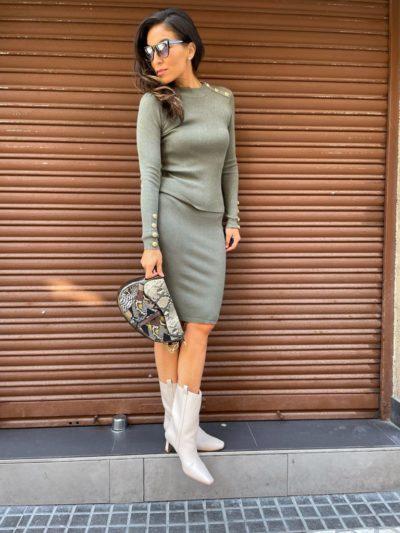 Falda verde kaki de punto canalé