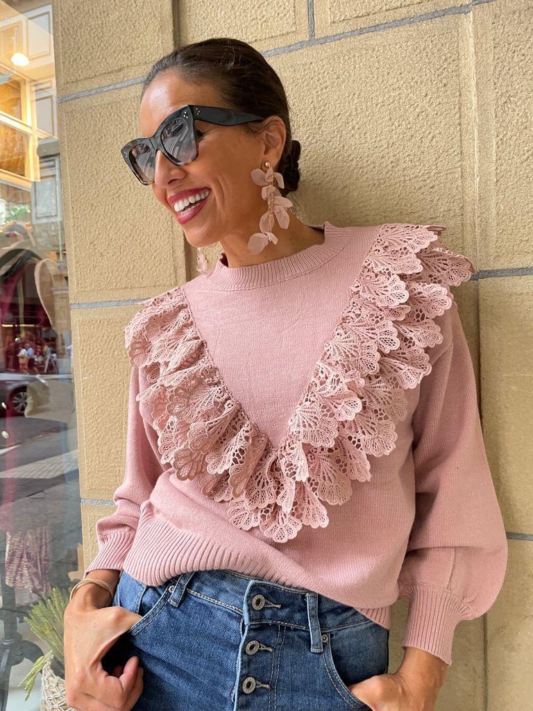 Jersey de punto en tono rosa palo