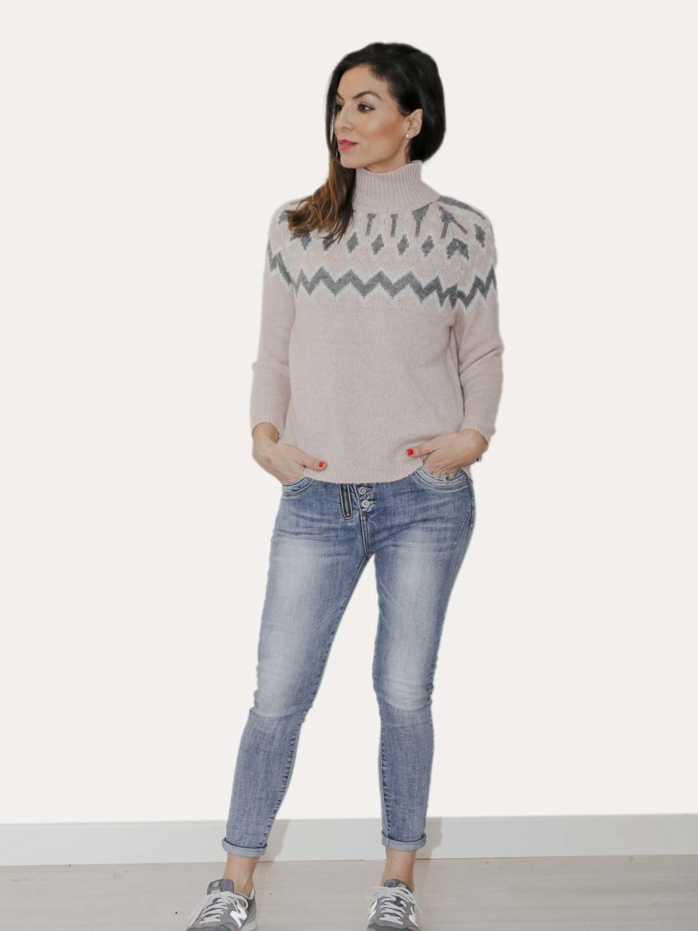 Pantalón jeans botonadura frontal