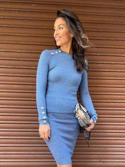 Jersey azul de punto canalé